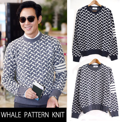 ★ High Quality ★ popular Korean actor Lee Jung Jae style! Simple whale pattern knit / whale pattern / HOT TREND.G-DRAGON / T.O.P