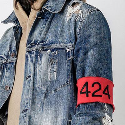 Vintage District Lloyd red arm band denim jacket (M, L)