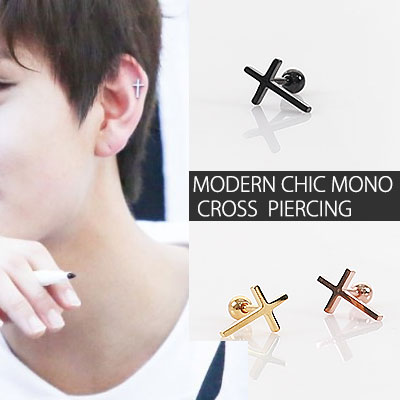 MODERN CHIC MONO CROSS  PIERCING