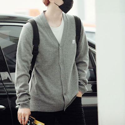 [EXO Byun Baek-hyun&Chanyeol Fashion Style!] SQUARE SIMILEY FACE PANNEL CARDIGAN(BLACK,GREY)