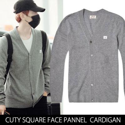 [EXO Byun Baek-hyun&Chanyeol Fashion Style!] SQUARE SIMILEY FACE PANNEL CARDIGAN(BLACK,GREY)