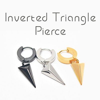 reverse triangle motif earrings (one ear only) / INVERTED TRIANGLE PIERCING (1ea)/Silver, Gold, Black