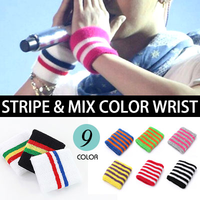 [G-DRAGON STYLE!]STRIPE&MIX COLOR WRIST BAND