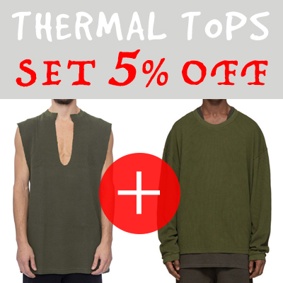 (purchase as a set and get 5% off) thermal (waffle) fabric crew neck sweater + deep V-neck sleeveless(3COLORS)