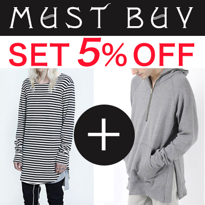(purchase as a set and get 5% off) LONG SLEEVE STRIPED LONG T-SHIRT + SIDE SLIT PULLOVER HOODIE