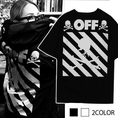 ★ velvet logo upgrade VER. ★[2NE1 CL STYLE!]SKULL OFF LOGO SHORT SLEEVE T-SHIRT