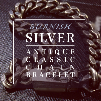 High quality accessories / BURNISH SILVER ANTIQUE CLASSIC CHAIN BRACELET (XS, S, M, L, XL) / SILVER 92.5%