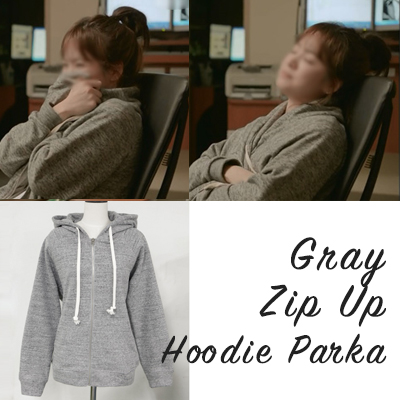 Grey zip-up HOODIE/ sweater cardigan / 100%COTTON