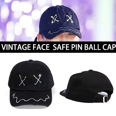 [BIGBANG G-DRAGON,2NE1 SANDARA,BlockB ZICO STYLE!] VINTAGE FACE SAFE PIN BALL CAP