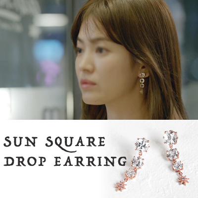[Song Hye Kyo Fashion!] SUN SQUARE DROP EARRINGS (3COLORS)