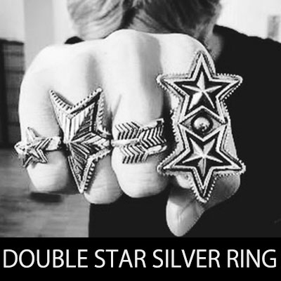 Luxury Silver / DOUBLE STAR SILVER RING
