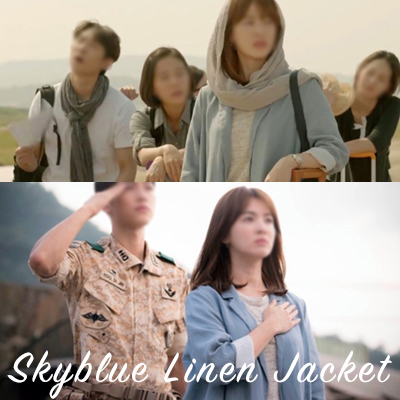 [South Korean drama [sun descendant] Song Hye Kyo Fashion!] / Sky blue linen (100%) jacket/ FREE SIZE