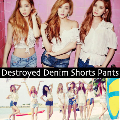 Girls Fashion / Dist Lloyd denim shorts / (S, M, L) / cut-off damage denim shorts/ Women's
