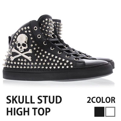[25.5~28.0cm]SKULL LOGO WITH STUDS HIGH TOP REAL LEATHER SHOES