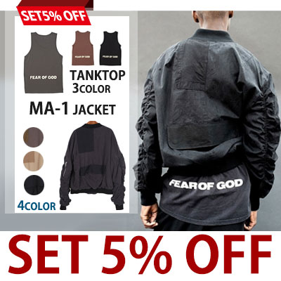 (purchase as a set and get 5% off) BACK LOGO FEAR OF GOD PRINT TANKTOP& BOMBER JACKET