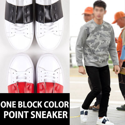 [MISS-A SUJI STYLE!] [25.0~28.0cm]ONE BLOCK COLOR POINT SNEAKERS(BLACK,RED)
