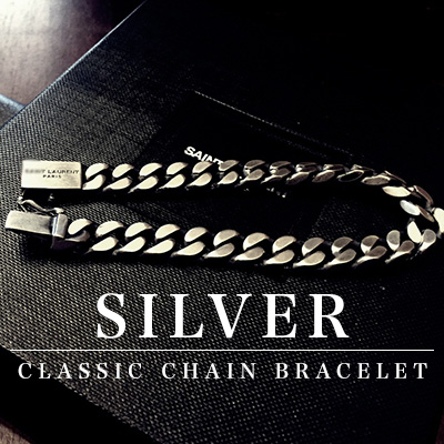 High quality accessories/ SILVER SIMPLE CLASSIC CHAIN BRACELET