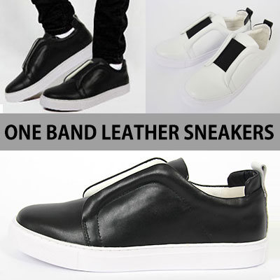 [25.0~28.0cm]LUXURY STYLE!ONE BAND LEATHER SNEAKERS