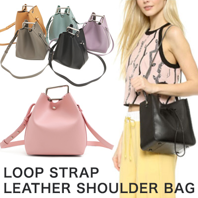 COWHIDE LOOP STRAP LEATHER SHOULDER BAG(12COLORS)