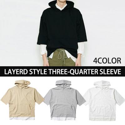 [BASIC SIMPLE LINE]LAYERD STYLE THREE-QUARTER SLEEVE HOODIE(WHITE,BLACK,GREY,BEIGE)