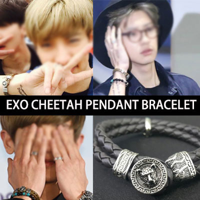 EXO STYLE! CHEETAH PENDANT BRACELET(BROWN,CHOCOLATE BROWN,BLACK)