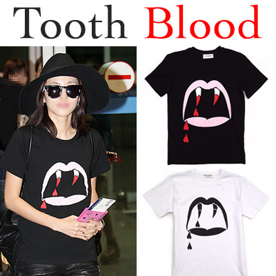 [UNISEX] TOOTH BLOOD print short-sleeved T-shirt / BLACK, WHITE / Men's / Women's