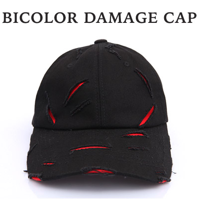 Bicolor scheme damage ball cap / BASEBALL CAP (2COLORS) / fashionable hat