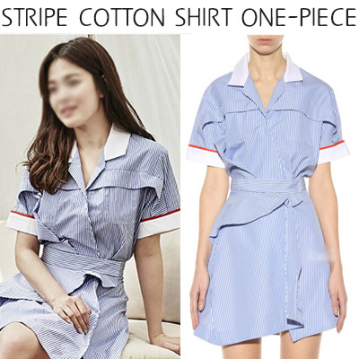 [Song Hye Kyo Fashion!] Ladies dress / stripe cotton shirt dress / short sleeve dress / S, M, L
