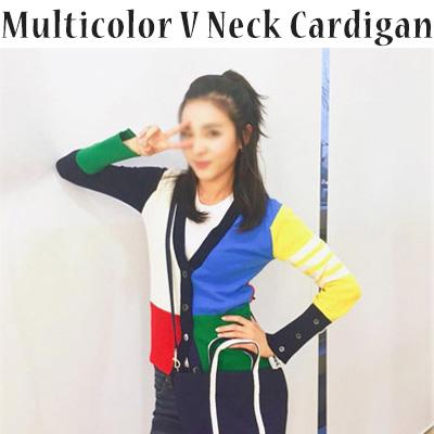 [2ne1 Dara / SANDARA STYLE!] Knit V-neck cardigan / color block cardigan / multi-color (S, M, L)/ Women's