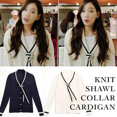 [Girls Taeyon Fashion] knit shawl collar cardigan (2COLORS)