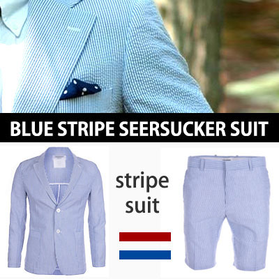 (purchase as set and get 5% off)LUXURY STYLE! BLUE STRIPE SEERSUCKER SUIT