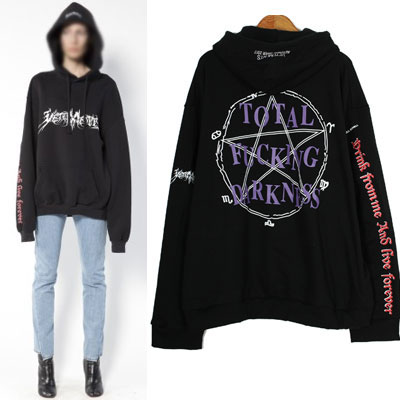 ★HIT ITEMS★MASIC CIRCLE PRINT OVER FITTING SIZE PULLOVER HOODIE