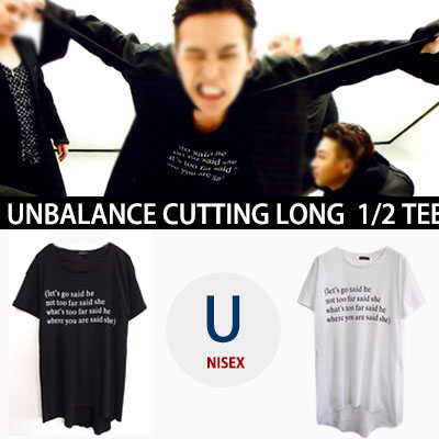 ★30%OFF SALE★G-DRAGON STYLE!  UNBALANCE LETTERING CUTTING SHORT SLEEVED T-SHIRT