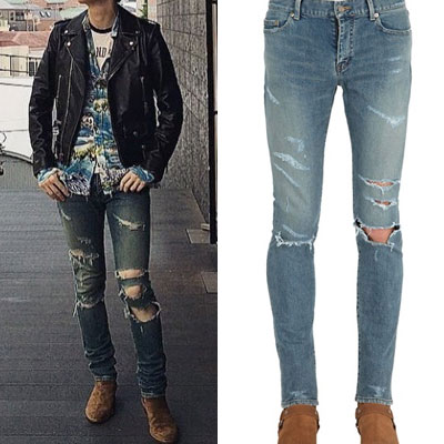 (purchase as single item) [G-DRAGON STYLE!] SUPER RIPPED SKINNY JEANS(S,M,L)