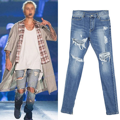 [JUSTIN BIEBER STYLE!] LIGHT BLUE SIDE ZIPPER RIPPED JEANS