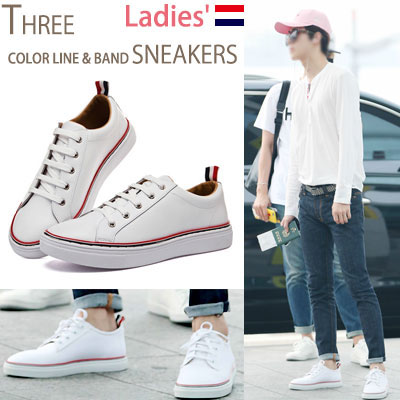 ★LADIES SIZE★[22.5~24.5cm]EXO AIRPORT FASHION STYLE! 3COLOR BAND POINT REAL LEATHER SNEAKERS