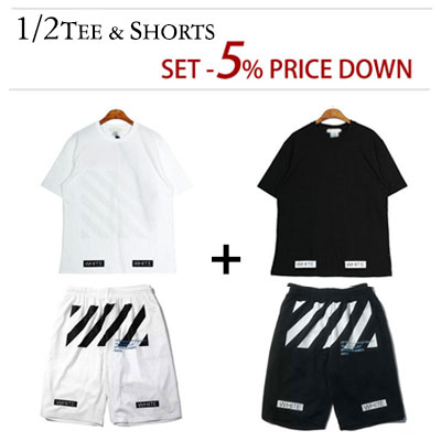 (Purchase as a set and get 5% off) WHITE BLUE TYPO LOGO SHORT SLEEVED T-SHIRT & SHORTS (WHITE,BLACK)