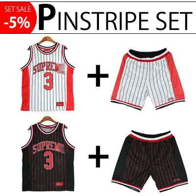 (Purchase as a set and get 5% off) PINSTRIPE MASH TANKTOP&SHORTS