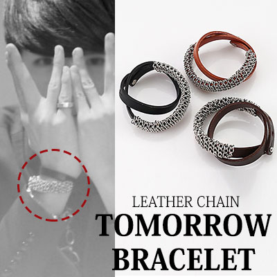 [BTOB style!] LEATHER CHAIN TOMORROW BRACELET (DARK-BROWN,CAMEL,BLACK)