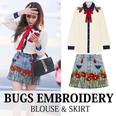 [Girl's generation Tiffany style!] BUGS EMBROIDERY BLOUSE & SKIRT