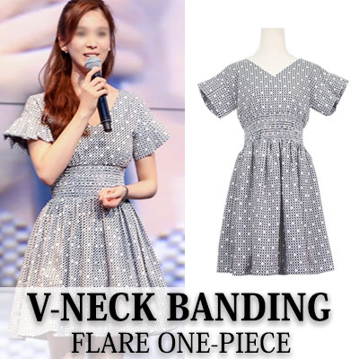 [Song Hye-kyo style!] V-NECK BANDING FLARE ONE-PIECE (DRESS)