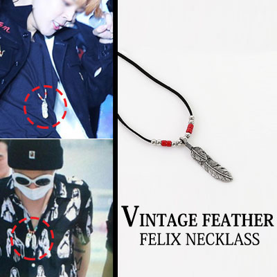 K-POP STAR style! VINTAGE FEATHER FELIX NECKLASS