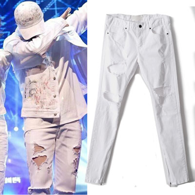 ★Jerry Lorenzo,WINNER SONG-MINHO FASHION STYLE!★ SIDE ZIPPER RIPPED WHITE JEANS (SIZE M,L)