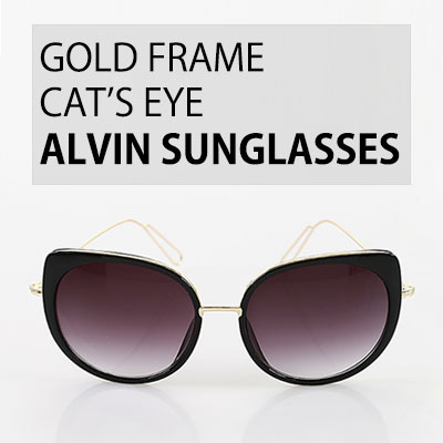 GOLD FRAME CAT'S EYE ALVIN SUNGLASSES