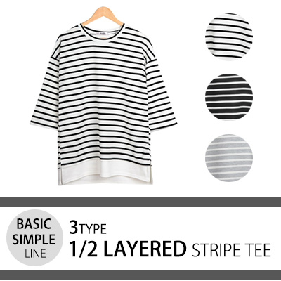 [BASIC SIMPLE LINE] LAYERED STRIPE T-SHIRTS (3TYPE)