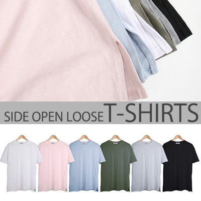 [BASIC SIMPLE LINE] LOOSE T-SHIRT WITH SIDE OPEN SHORT SLEEVES (6COLOR)