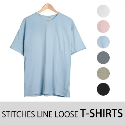 [BASIC SIMPLE LINE] LOOSE T-SHIRT WITH STITCH LINE ACROSS (6COLORS)
