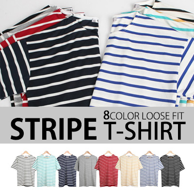 [BASIC SIMPLE LINE] VARIOUS SIZES & COLORS! STRIPE T-SHIRT (8COLORS)