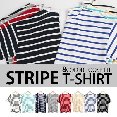 [BASIC SIMPLE LINE] VARIOUS SIZES & COLORS! STRIPE T-SHIRT (8COLORS)