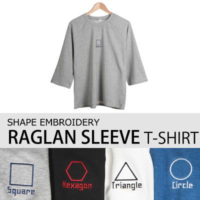 [BASIC SIMPLE LINE] SHAPE EMBROIDERY RAGLAN SLEEVE T-SHIRT(4COLOR)